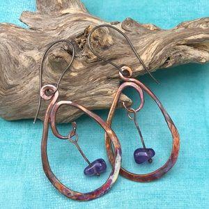 Forged Copper Earrings w/amethyst dangle